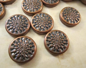 76 vintage rivet style button fronts - metal - stamped metal findings
