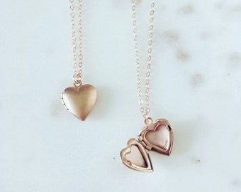 Rose gold heart locket, 14k rose gold filled chain, cherish, gift for her