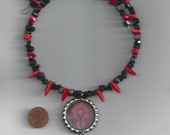 Warcraft Inspired Horde Symbol Memory Wire Necklace -FREE USA SHIPPING