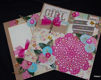 Fabulous Prima Doll Girl 12x12 Premade Double Page Layout