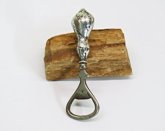 Antique Sterling Handle Bottle Opener Detailed with Dancing Couple Champagne Cards Revelry Art Deco Barware
