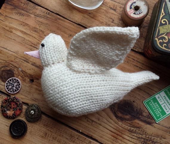 Dove Knitting Pattern : White dove knitting pattern - PDF - cute bird from knitforvictory on Etsy Studio