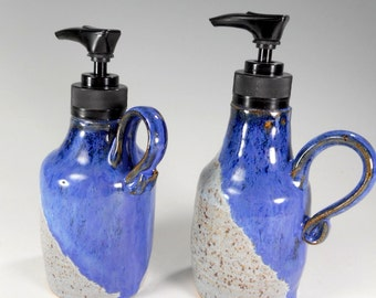 Pottery soap and lotion dispenser pump set of 2 - ceramic lotion pump - stoneware soap pump -  soap pump dispenser - soap and lotion set