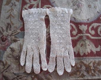 Vintage Pale Beige Cotton Crochet Bridal Gloves Bride Wedding New Old Stock