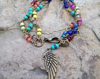 Hippie Bohemian triple Bracelet - Czech beaded chain Bracelet - beaded bracelet, Wing Charm