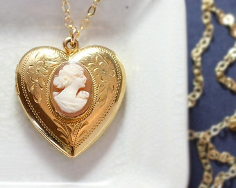 Cameo Gold Heart Locket Necklace, Gold Filled Vintage Raised Oval Pendant - Queen of Hearts