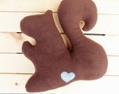 Squirrel Plush Pillow, double sided woodland animal pillow