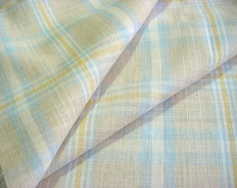 Cool Pastel Summer Plaid Vintage Fabric - Powder Blue Yellow White Woven Material BTY