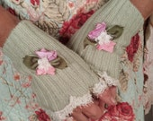 Fingerless Gloves Soft Green Cotton Blend with Silk and Velvet Flowers and Beaded lace Trim