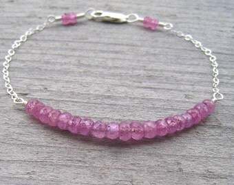 JEWELRY CLEARANCE, Pink Sapphire Bracelet, Sterling Silver, September Birthstone Jewelry, Pink Stacking Bracelet