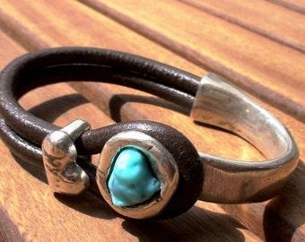 turquoise heart bracelet, aquamarine jewelry, aqua bracelets, aqua bracelet, leather bracelet, bead bracelets, summer jewelry