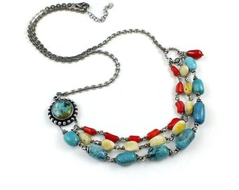 Etno silver necklace, turquoise amber and red coral necklace, metalwork jewelry