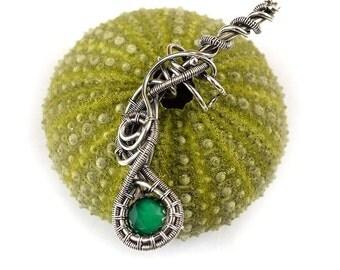 Wire wrapped earcuff, green gemstone earcuff, sterling silver jewelry