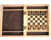 Vintage Soviet Chess Travel Mini Set Wood Wooden Chess Board 1970s from Russia Soviet Union USSR