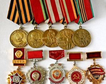 Soviet Vintage Badge Badges - Set of 10 Pins - Communist Socialist Propaganda Awards / USSR - from Russia / Soviet Union