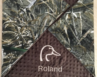 Personalized Camo Baby Boy Blanket Throw Afghan Blanket Hunting Camo Duck Real Tree Max5 Mossy Oak Homecoming Minky blanket
