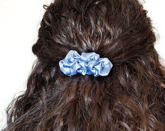 Light blue fabric small french barrette hair clip