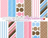 SALE Baby Bump Cute Digital Papers Backgrounds for Invitations, Card Design, Scrapbooking, and Web Design
