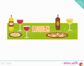 Instant Download Tapas Table Buffet Cute Digital Clipart, Tapas Table Clip art, Wine Cheese Graphics, Tapas Party Buffet Illustration, #1226