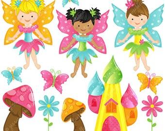 Fairy Garden Cute Digital Clipart - Commercial Use OK - Fairy Clipart, Fairy Graphics, Pretty Fairies
