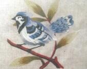 Elsa Williams Bluejay Crewel Embroidery Kit, Small Vintage DIY Project