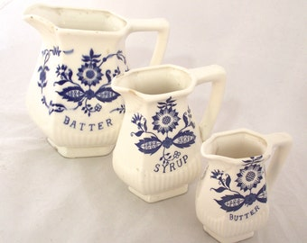 Pancake Pitchers Set, Vintage Pitchers for Batter, Syrup and Butter in Blue and White (E2)