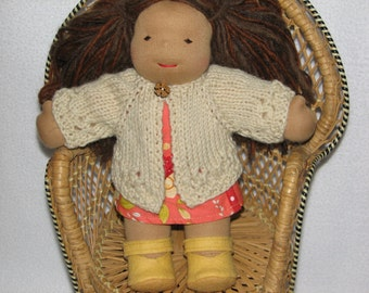 Waldorf Doll Clothes - Sweater for 10 inch Doll in Natural Light Tan Wool with knit in design RTG