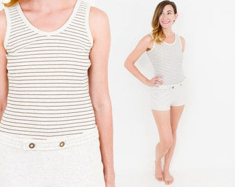 60s Striped Swimsuit | Collegian Knit Romper Bathing Suit, Small