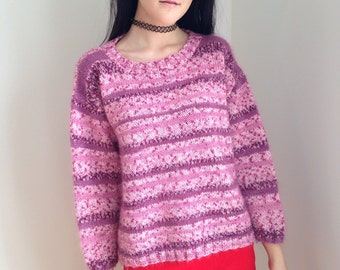 vintage 1970s sweater/ pink plum / ice skating / winter/ size medium