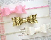 Baby Bow Headband Set, Gold Baby Bow, Baby Headband Set, Felt Bow Headband Set, Baby Headband, Glitter Bow, Newborn Headband, Toddler Bow