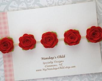 Felt Flower Crown, Baby Flower Crown, Baby Flower Headband, Felt Flower Headband, Red Headband, Baby Headband, Newborn, Toddler Headband