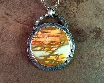 Cherry Creek Jasper Cabochon Sterling Silver Metalwork Necklace Pendant