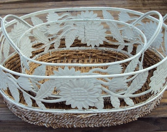 2 Shabby Chic White Metal and Rattan Nesting Baskets