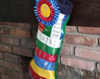 CUSTOM STOCKING - Holiday/Christmas stocking made from horse show ribbons.