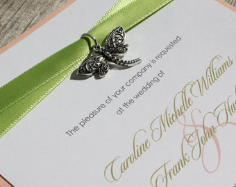 DRAGONFLY - *Sample*  Dragonfly Charm with Spring Green Ribbons on Peach Pink Wedding Invitation Set with Reply Card and Envelopes