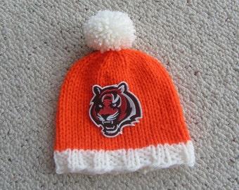 CINCINNATI BENGALS Baby Hat, Knit Baby Hat, Bengals Hat, Bengals Baby Hat, Hand Knitted Baby Hat, Baby Hat, Football Hat, Knitted Baby Hat