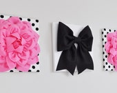 Pink, Black and White Flower Wall Hangings, Floral Nursery Decor, Dorm Wall Art, Pink and Black Girls Room, Black and White, Home Decor