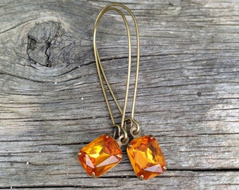 vintage light topaz rhinestone earrings | November birthstone | orange | wedding | bridal party | dames and divas earrings