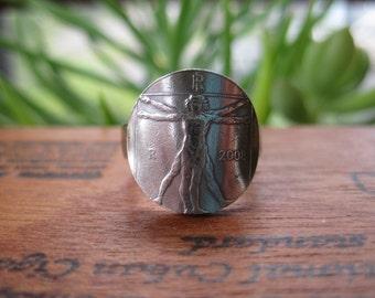 Leonardo Da Vinci's Vitruvian Man Italian Euro Ring with Sterling Silver Band MADE TO ORDER.
