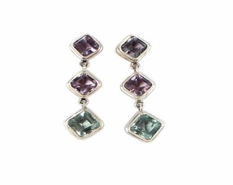 Purple Green Fluorite Sterling Earrings Faceted 3 Stone #2