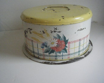 vintage cake round carrier tin stand 1950s yellow plaid floral