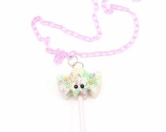 BATTY Pastel Sprinkles Swarovski Sparkle Resin Bat Pop Necklace