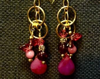 Pink Turquoise & Czech Glass Earrings