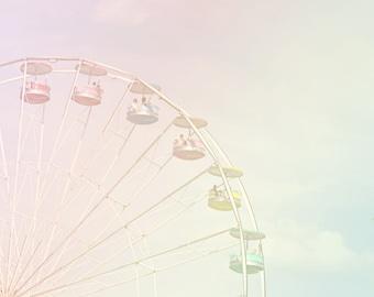 nursery wall art girl, Ferris wheel print, carnival photography, toddler girl room, Ferris wheel photo, pastel wall art, ferris wheel art