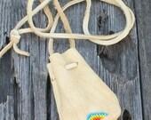 ON SALE Beaded buckskin bag , Leather medicine pouch , Crystal bag , Talisman bag
