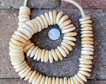 African Bone Beads: Ivory Discs