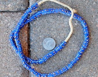 Krobo Beads: Blue/White/Brown 7x12mm