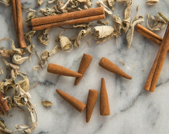 Cinnamon Sage - All Natural Hand Rolled Incense Cones - Bag of 6 or 12