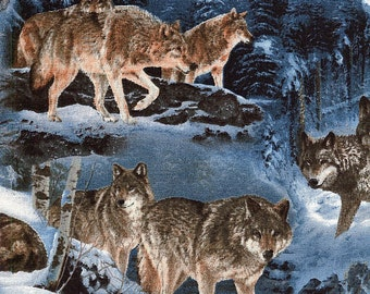 Wolves in Winter - David Textile - 1 yard - More Available - BTY