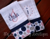 Personalized Burp cloth set prefold diaper- navy blue and coral with grey mod dot polka- set of two burps cloths